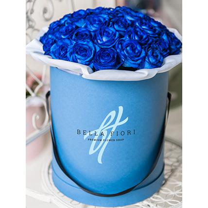 Синие розы в стильной коробке от Bella Fiori