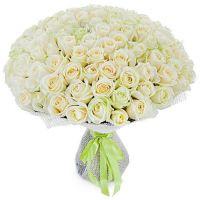 101 белая роза (40 см)