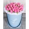 Коробка с розовыми тюльпанами от Bella Fiori