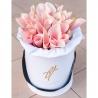 Каллы персиковые в белой коробке