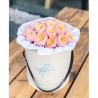 Пионовидные розы персиковые в коробке