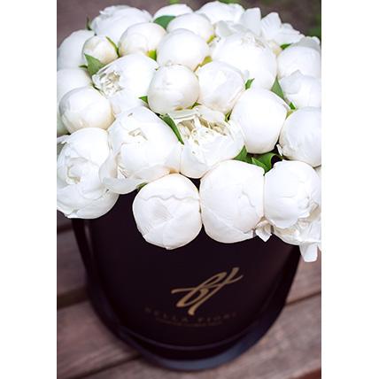 Белые пионы в коробке Royal