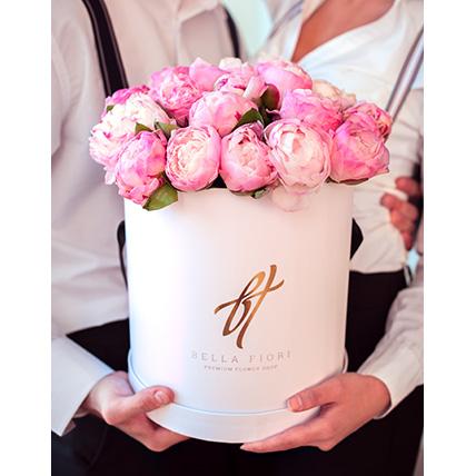 Пионы нежно-розовые в коробке Royal