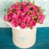 Розовые пионовидные розы в коробке