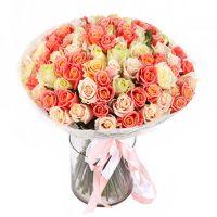 101 роза: персиковая, кремовая, белая