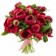 19 бордовых пионов «Ред шарм»