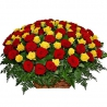 Корзина из 101 розы: красные + желтые