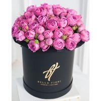 Фиолетовые пионовидные розы в коробке Royal