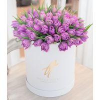 Фиолетовые тюльпаны в коробке Royal