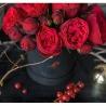 Пионовидные розы «Ред Пиано» в коробке Baby