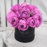 Фиолетовые пионовидные розы в коробке Baby
