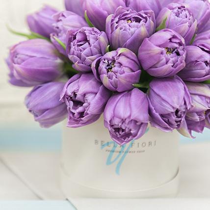 Фиолетовые тюльпаны в коробке Baby с доставкой по Москве ... Фиолетовые Тюльпаны