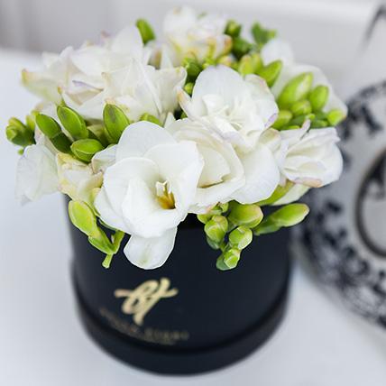 Белые ароматные фрезии в коробке Baby
