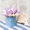 Белые и сиреневые тюльпаны в коробке Baby