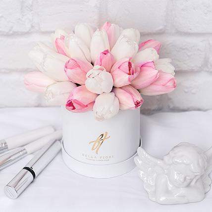Белые и розовые тюльпаны в коробке Baby