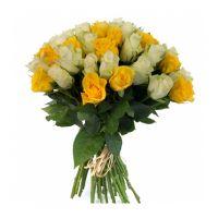 51 роза желто-белая (40 см)