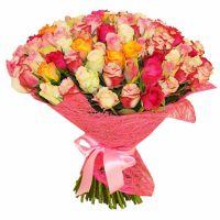 101 разноцветная роза (40 см)