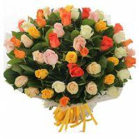 51 роза разноцветная (40 см)