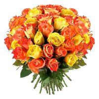 51 роза желтая и оранжевая (40 см)
