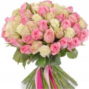 101 роза бело-розовая (40 см)