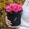 Пионовидные розы «Пинк пиано» в черной коробке Small
