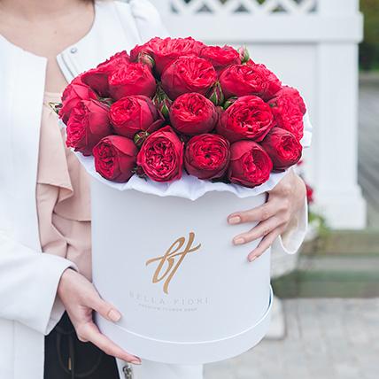 Пионовидная роза «Ред пиано» в белой коробке Royal