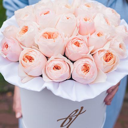 Пионовидные розы Остина «Джульет» в белой коробке Royal