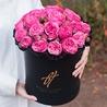 Пионовидные розы «Пинк пиано» в черной коробке Royal