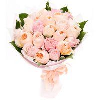 Букет из пионовидных роз Остина «Сияющая улыбка»