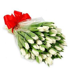 Букет «51 белый тюльпан»