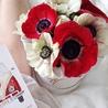 Красные и белые анемоны в коробке Small