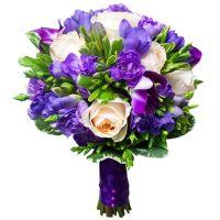 Свадебный букет с пионовидными розами и фрезиями №3