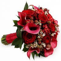 Свадебный букет невесты с каллами и розами №2