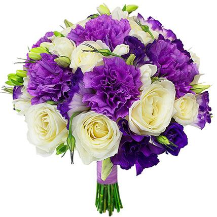 Свадебный букет невесты из гвоздик и роз №5