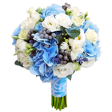 Свадебный букет невесты с гортензией и эустомой №16