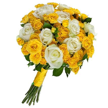 Букет из желтых кустовых роз №42