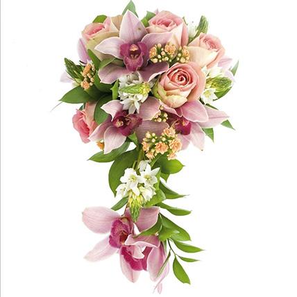 Свадебный букет невесты с розами и орхидеями №46