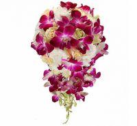 Свадебный букет с розами и орхидеями №47