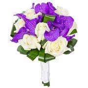Букет с фиолетовой орхидеей «Ванда» и розами №49