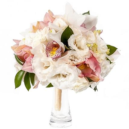 Свадебный букет невесты с орхидеей и эустомой №50