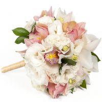 Свадебный букет с орхидеей и эустомой №50