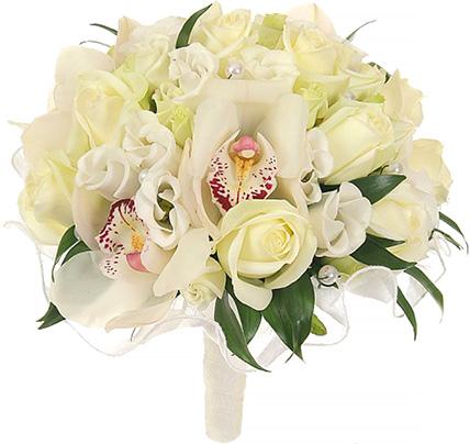 Свадебный букет невесты с орхидеями и розами №52