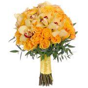 Букет с желтыми орхидеями и розами №54