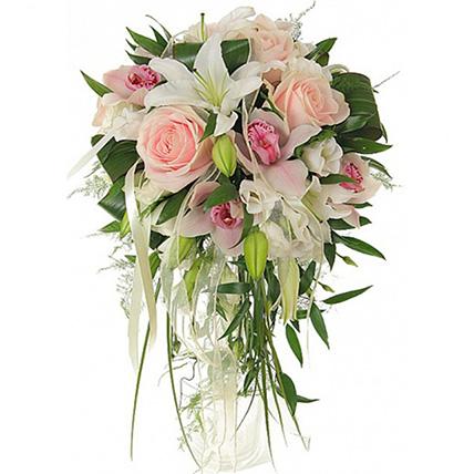 Свадебный букет невесты с орхидеями и лилиями №56
