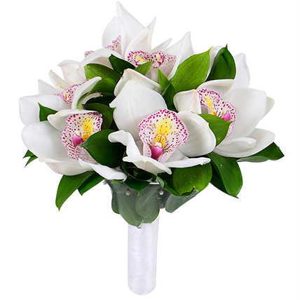 Свадебный букет невесты с белыми орхидеями №60