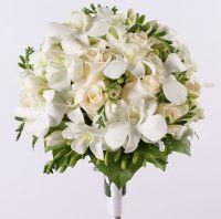 Свадебный букет с фрезией и орхидеей «Дендробиум» №63
