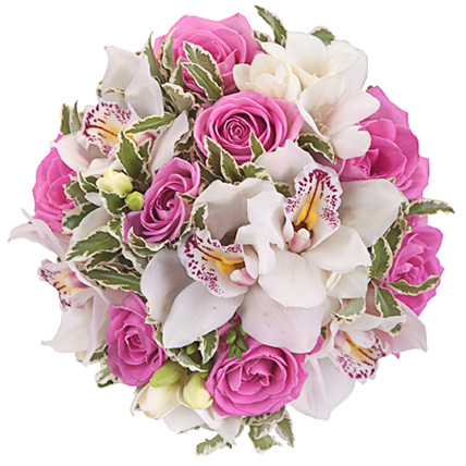 Букет с белыми орхидеями и розами №64