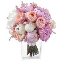 Букет с пионами и пионовидной розой «Джульет» №67