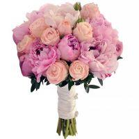 Свадебный букет с пионами и розами «Бомбастик» №70