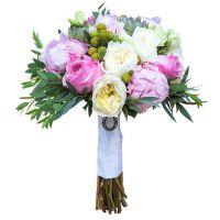 Свадебный букет с пионами и розами «Остина» №81